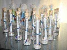 A message in a bottle were our birthday invitations.  We mailed them out to each child for our under the sea birthday theme party.