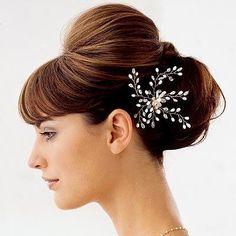 With straight bangs and low bun for wedding #hot #sexy #hairstyles #hairstyle #hair #long #short #medium #buns #bun #updo #braids #bang #greek #braided #blond #asian #wedding #style #modern #haircut #bridal #mullet #funky #curly #formal #sedu #bride #beach #celebrity #simple #black #trend #bob #girls