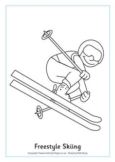 Freestyle Skiing Colouring Page