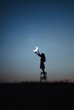 Moon child Art and photography Creative Photography, Art Photography, Beautiful Moon, Nocturne, Moon Child, Stars And Moon, The Moon, Night Skies, Sky Night