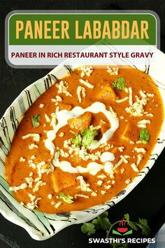 Paneer lababdar recipe – Delicious North Indian restaurant style paneer gravy made with onion, tomatoes, cashews, grated paneer and paneer cubes. Paneer lababdar is most commonly seen on the North Indian Restaurant menus. Though not as popular as the paneer butter masala & paneer makhani, it is a favorite among many who love paneer in rich and delicious spicy gravy. Paneer Lababdar, Paneer Makhani, Paneer Tikka, Indian Paneer Recipes, Indian Food Recipes, Cooking Dishes, Cooking Recipes, Christmas Ringtones, Spicy Gravy