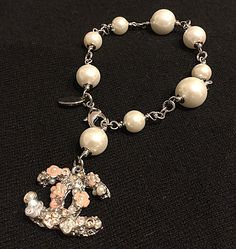 GORGEOUS #CHANEL Pearl Bracelet Pink CAMELLIA Crystal CC  MUST HAVE GIFT