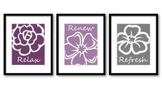 Purple Plum Grey Gray Flowers Flower Set of 3 Relax Refresh Renew Art Print Wall Decor Bathroom Bedroom Modern Minimalist