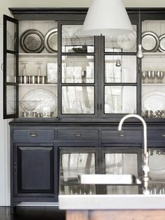 """How to """"lighten up"""" our kitchen... install glass front doors! (Bungalow Blue Interiors - Home)"""