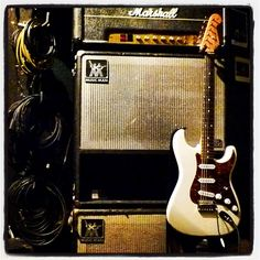 Monster cables, Marshall amp, Fender Strat. Sounds good to me. #fender #fenderstrat #stratocaster #marshall #marshallamp #monster #monsterproaudio #monstercable #superlead