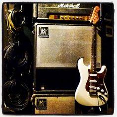 Monster cables, Marshall amp, Fender Strat. Sounds good to me. #fender #fenderstrat #stratocaster #marshall #marshallamp #monster #monsterproaudio #monstercable #superlead
