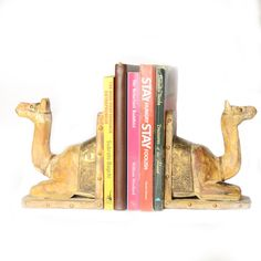 Camel Book Ends Or Book Stoppers, Brass Artwork