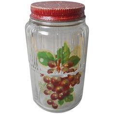 Glass Jar Painted Lid Grapes Decal Vintage Kitchen
