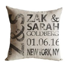 Personalized Pillow Cover Couples Pillow Wedding Pillow -4th Anniversary Gift -Wedding Date, Valentine Idea -Christmas Gift -Housewarming