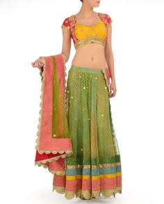Lime Green Leheriya Lengha Set with Gota Patti - Buy Between the Lines, Monika Nidhi Online | Exclusively.in