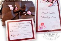 Musical Wedding or Party Invitation and RSVP Card in Cherry Blossom Brown Pink White Ivory Shades with ribbon and glitter embellishment. Comes in Musical Box that Sings! Singing Music boxed invite. Totally custom, high end/class, couture, elegant invite.