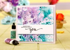 Kim Dellow's Color Burst card from Simply Cards and Papercraft 153 Purples Cool Cards, Diy Cards, Brusho, Paint Cards, Birthday Cards For Women, Birthday Scrapbook, Craft Free, Watercolor Cards, Card Making