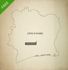 Free printable map and vector map of Ivory Coast (Côte d'Ivoire) outline
