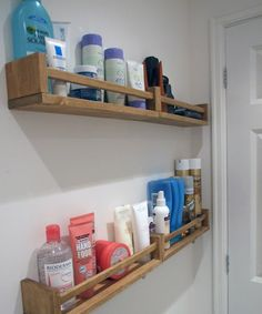 Ikea hack - spice racks in the bathroom for my perfumes. Paint in a different colour.