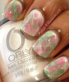 Green And Pink Fan Brush Mani - manicure Sorority Nails, Aka Sorority, Cute Nails, Pretty Nails, Hair And Nails, My Nails, Nail Techniques, Nail Photos, Green Nails