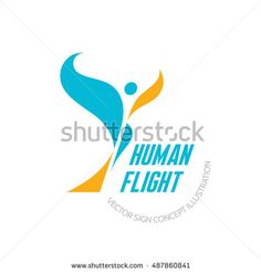 Human flight - vector logo template concept illustration. Abstract butterfly sign. Wings symbol. Design element.