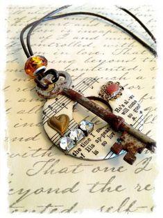 Large Washer Pendant necklace embellished with by SavedByGrace1970, $28.00