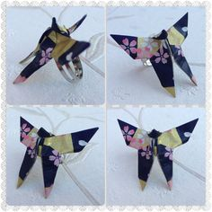 Origami Paper Moth butterfly ring  on Etsy, £10.00