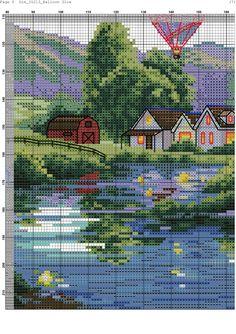 Zz Cross Stitch Kits, Cross Stitch Charts, Cross Stitch Patterns, Balloon Glow, Balloons, Hand Embroidery Stitches, Embroidery Patterns, Cross Stitch Landscape, Scenery Pictures