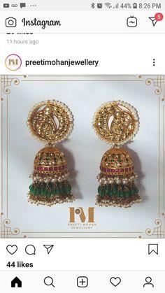 Indian Jewelry Earrings, Jewelry Design Earrings, Gold Earrings Designs, Indian Wedding Jewelry, Gold Jewellery Design, Antique Earrings, Bridal Jewelry, Gold Jewelry, Beaded Jewelry Designs