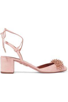 AQUAZZURA Monaco embellished suede pumps. #aquazzura #shoes #pumps