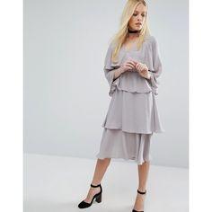 Lost Ink Layered Midi Dress (3.960 RUB) ❤ liked on Polyvore featuring dresses, grey, long-sleeve midi dresses, flutter sleeve dress, flounce dress, flutter-sleeve dress and ruffle sleeve dress