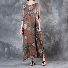 Material: ramie,silk Collar type: round neck Clothing placket: hedging Pattern: floral Style: literature,retro Sleeve: short sleeve Clothing details: printing,p Popular Dresses, Chinese Style, Edm, Designer Dresses, Printing, July 25, Coffee, My Style, Casual