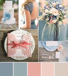 We love any color combination that includes soft romantic colors! And this Coral  Peach  Dusty Blue color palette is to die for! The coral gives this rustic palette a punch of bold color while remaining refined and elegant. The possibilities are endless when you have two gorgeous shades of pink and a neutral blue-gray color! Don't you think so? #weddinginspiration #weddingidea #weddingideas #wedding #weddings #weddingday #weddingcard #weddinginvitations #wedding #bestwedding #weddingcards…