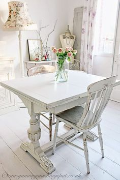 vintage shabby chic - I love the idea of white floors but could not bear having to keep them clean
