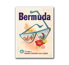 Retro Travel Poster Art Bermuda Sports by VintageSportsPosters