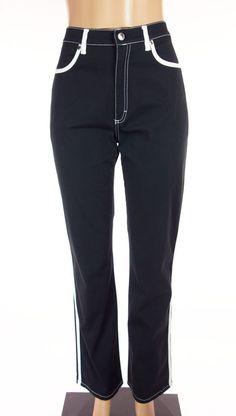 ESCADA SPORT Linda Pants Size 40 8 10 M Black White Stretch Casual #ESCADA #CasualPants