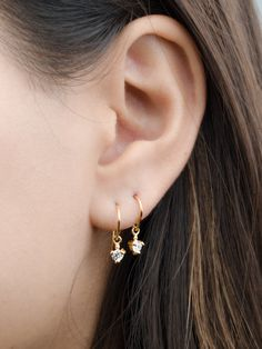 Tiny Zirconia Drop Earrings Sterling Silver Gold Plated