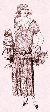 Drawing of above ankle floral dress. Costume history and fashion history 1920s