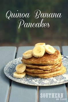 Healthy Quinoa Banana Pancakes that are thick and fluffy and perfect for breakfast! A fool proof recipe everyone will love with gluten free and wholewheat options. Low fat, clean eating friendly and sugar free!