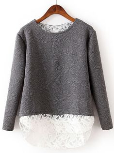 Grey Contrast Lace Geometric Pattern Sweatshirt - Sheinside.com