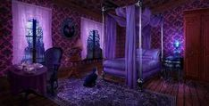 This bedroom would look brilliant in the dark! It would scare Halloweeners, because my bedroom window would have purple coming out of it!
