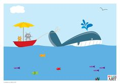 Two cats and one whale  A2 Poster by MylesArtprints on Etsy, £14.50