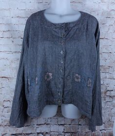 Barclay Blue Fish Jacket Blouse Size 1 Gray Painted Floral Cantiva Hemp Cotton #Barclay #Blouse