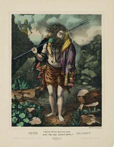 Mahadev lithograph with hand-coloring, 1883 Calcutta Art Studio, Calcutta Shiva Parvati Images, Shiva Shakti, Indian Artwork, Indian Prints, Om Namah Shivaya, Angry Lord Shiva, Bengali Art, Kali Hindu, Lord Rama Images