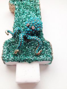 teal and gold glitter octopus candle| Mermaid party candle| Republic of party| Glitter candles