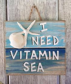 Ocean Pallet Art Wooden Vitamin Sea Sign Seaside Decor