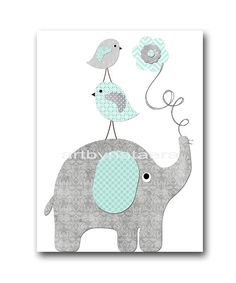 Elephant Bird Gray Mint Instant Download Art by nataeradownload