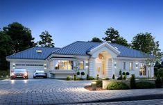 Willa Parkowa 6 on Behance Modern Bungalow House, Bungalow Exterior, Bungalow House Plans, Flat House Design, Village House Design, Modern House Design, Simple House Design, House Plans Mansion, Dream House Plans