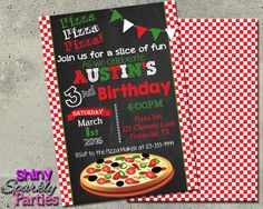 Printable Pizza Party Birthday Invitation (Digital File Only)