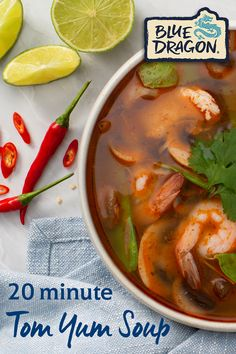 Try new Blue Dragon Tom Yum Soup - authentic and delicious with no artificial flavours or colour I Love Food, Good Food, Yummy Food, Asian Recipes, Healthy Recipes, Thai Recipes, Soup Recipes, Cooking Recipes, Tom Yum Soup