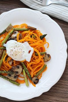 Roasted Asparagus & Mushroom Butternut Squash Noodles with a Poached Egg Recipe