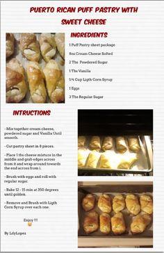 Puerto Rican Sweet Puff Pastry Puerto Rican Cuisine, Puerto Rican Dishes, Puerto Rican Recipes, Cuban Recipes, Puerto Rican Cake Recipe, Comida Boricua, Boricua Recipes, Bakery Recipes, Dessert Recipes