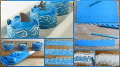 Wrap your Ocean Themed Cupcakes in Edible Cupcake Wrapper Waves. Ocean Cupcakes, Love Cupcakes, Themed Cupcakes, Ocean Party Decorations, Cupcake Wrappers, Fondant Cakes, Cake Decorating, Decorating Ideas, Sweet Treats