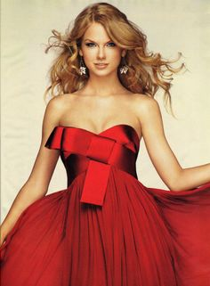 Taylor Swift Red Strapless Dress