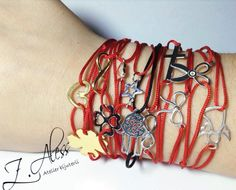 Lovely red bracelets with silver 925 and gold plated silver accessories by Z.Aless.